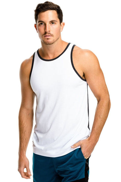 Halfback Tank - White + Charcoal