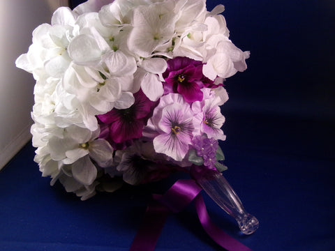 Bouquet-White Hydrangea Purple Pansy