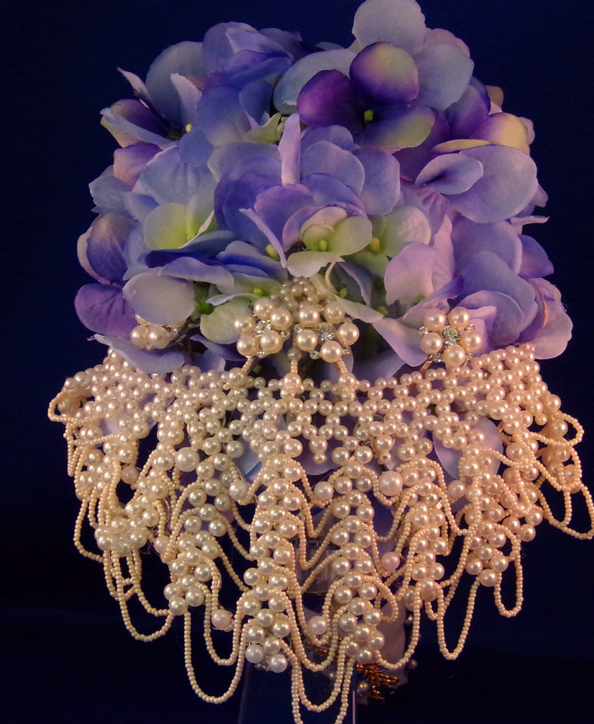 Wedding Bouquet - Blue Peacock Silk Hydrangea