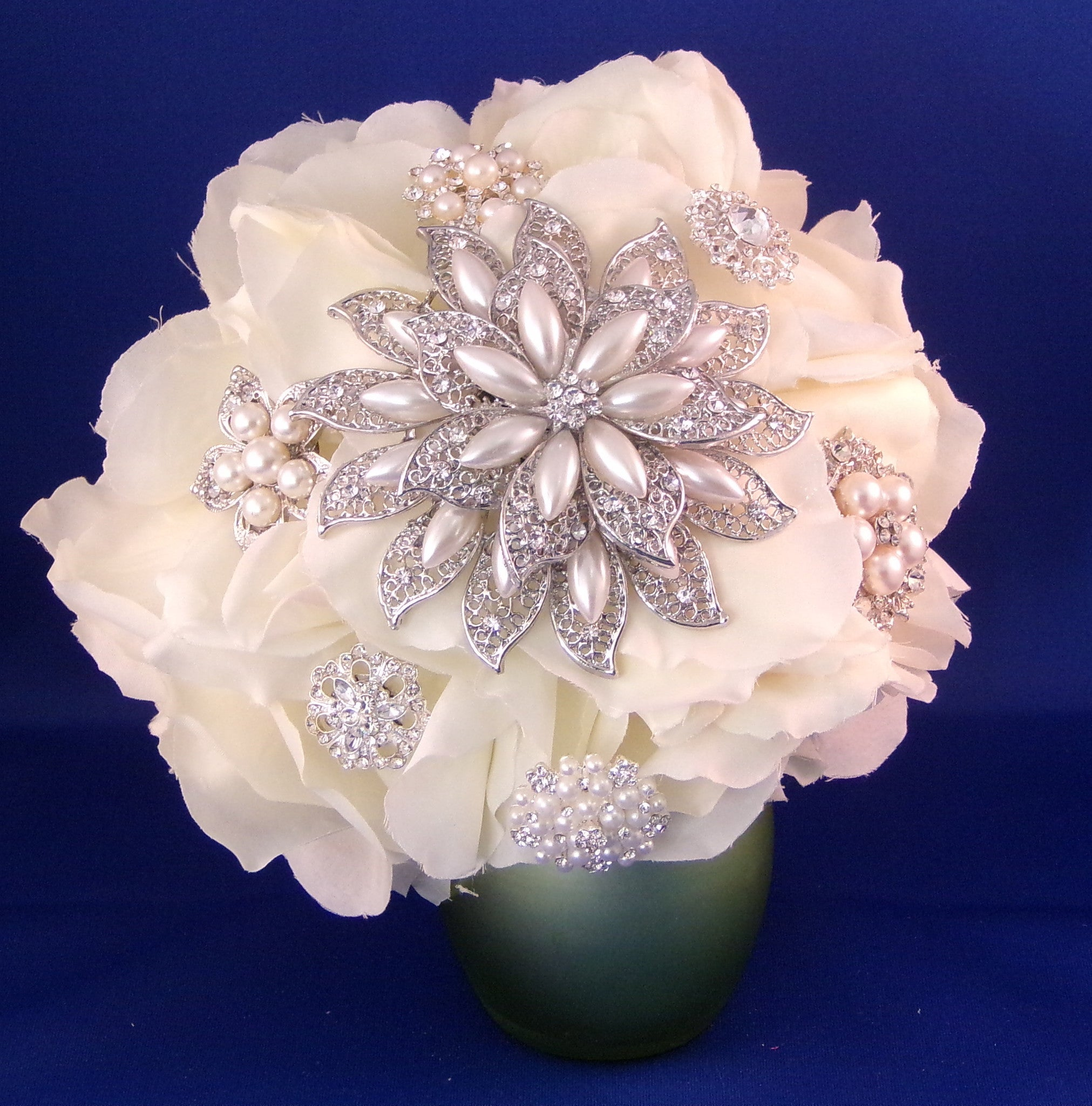 Wedding Bouquet - Dazzling White Pearl Silk Rose
