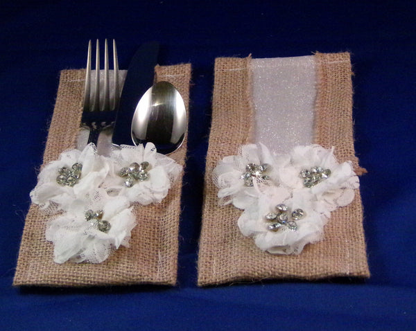 Utensil Holders - Silver Glitter White Lace Daisy Burlap - Set of Two
