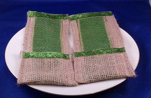 Utensil Holder - Burlap With Color Green - Set of Two
