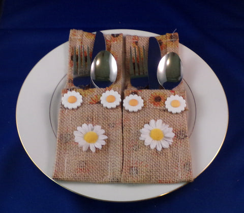 Utensil Holder - Sunflower Burlap - Set of Two