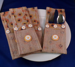 Utensil Holder - Sunflower Burlap - Set of Four