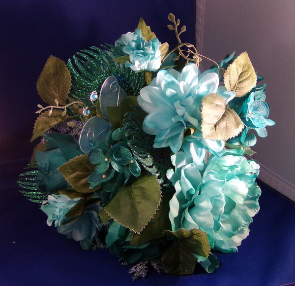Bouquet-Bridesmaid-Teal Blue Butterfly