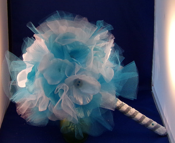 Bouquet-Teal Tulle Whimsey