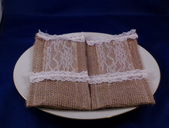 Utensil Holder - Burlap With Lace - Set of Two