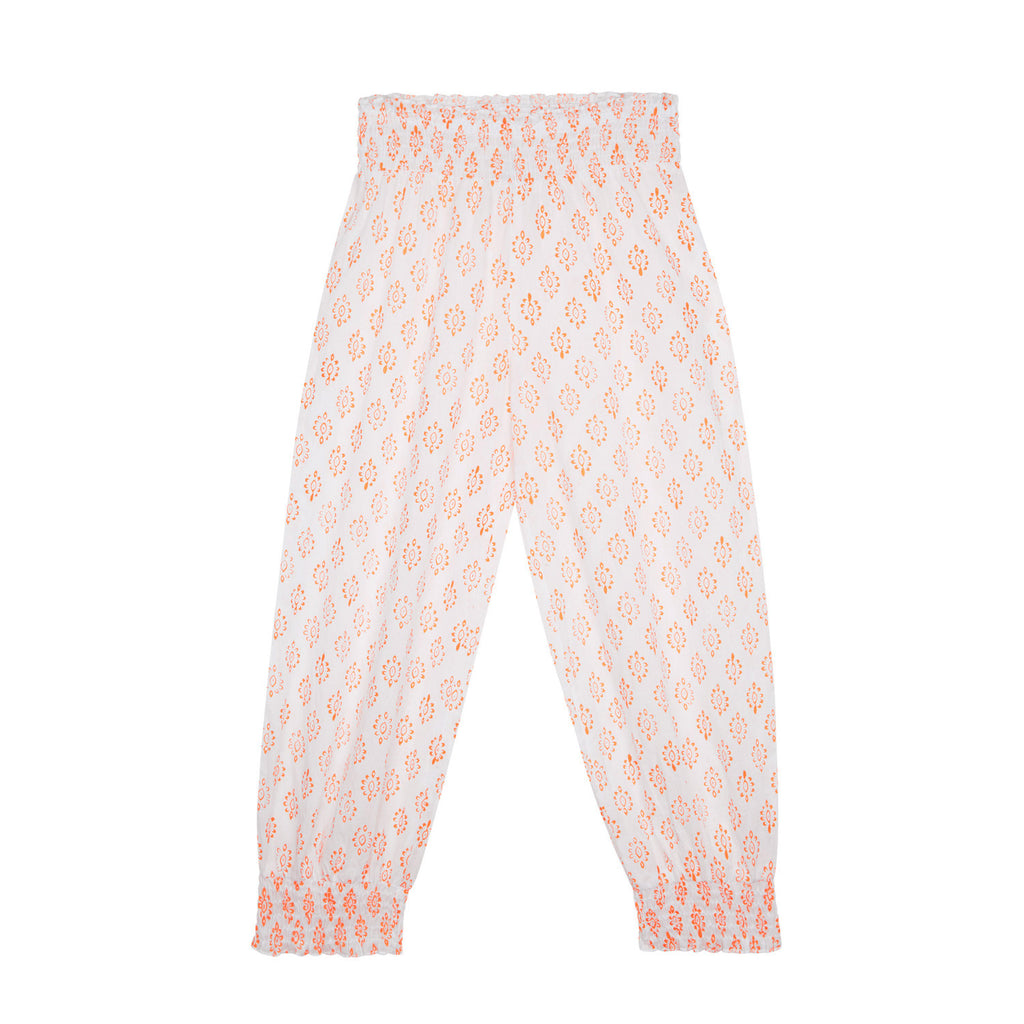 Grace Harem Pants in Neon Orange Sunflower Print (Ages 7-16)