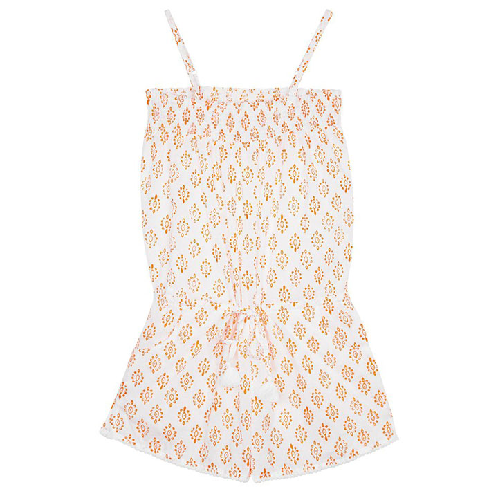 Edith Playsuit with Pompom Trim - Neon Orange