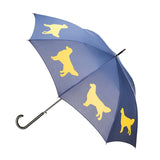 Golden Retriever Stick Umbrella Tilted view Navy and gold