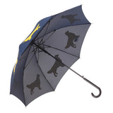 Golden Retriever Stick Umbrella  Navy and Gold Inner view