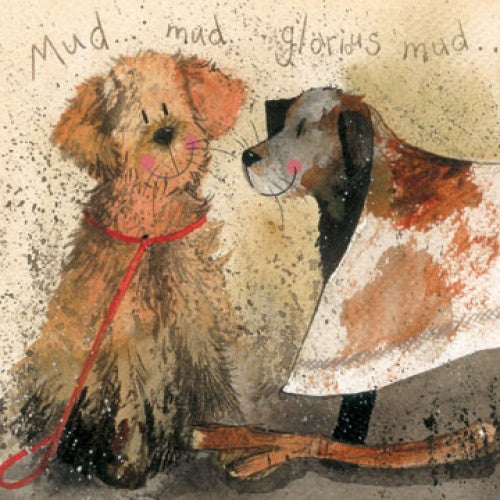 Golden Retriever Labrador Card Alex Clark Mud
