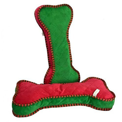 Large Dog Toy Red Green Bone Squeaks Honks