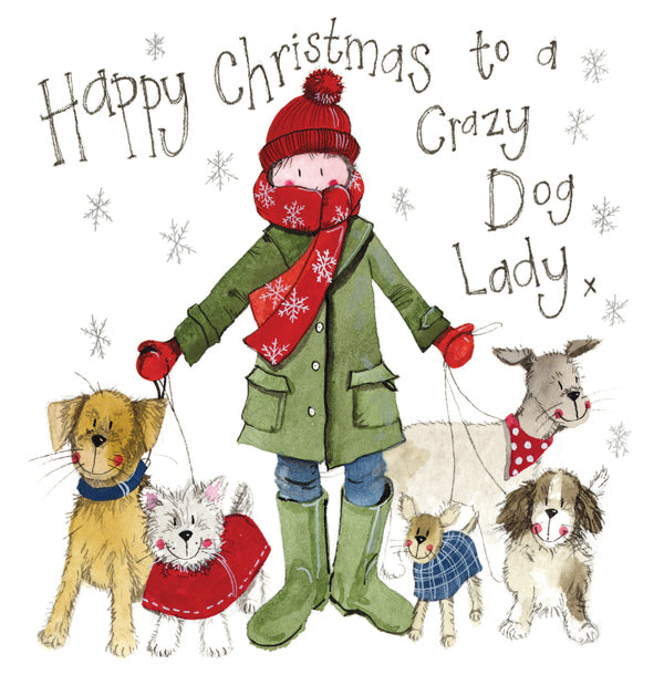 Christmas Card  Crazy Dog Lady