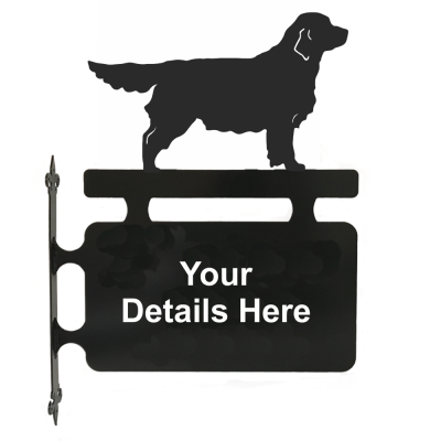 Golden Retriever Personalised Hanging House Sign in Black powser coated 3mm Mild steel