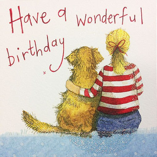 Golden Retriever Birthday Card Alex Clark Stripey