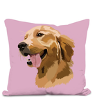 Golden Retriever Cushion with large image of head of a smiling Retriever.  Colour Lilac Size 40x40cm
