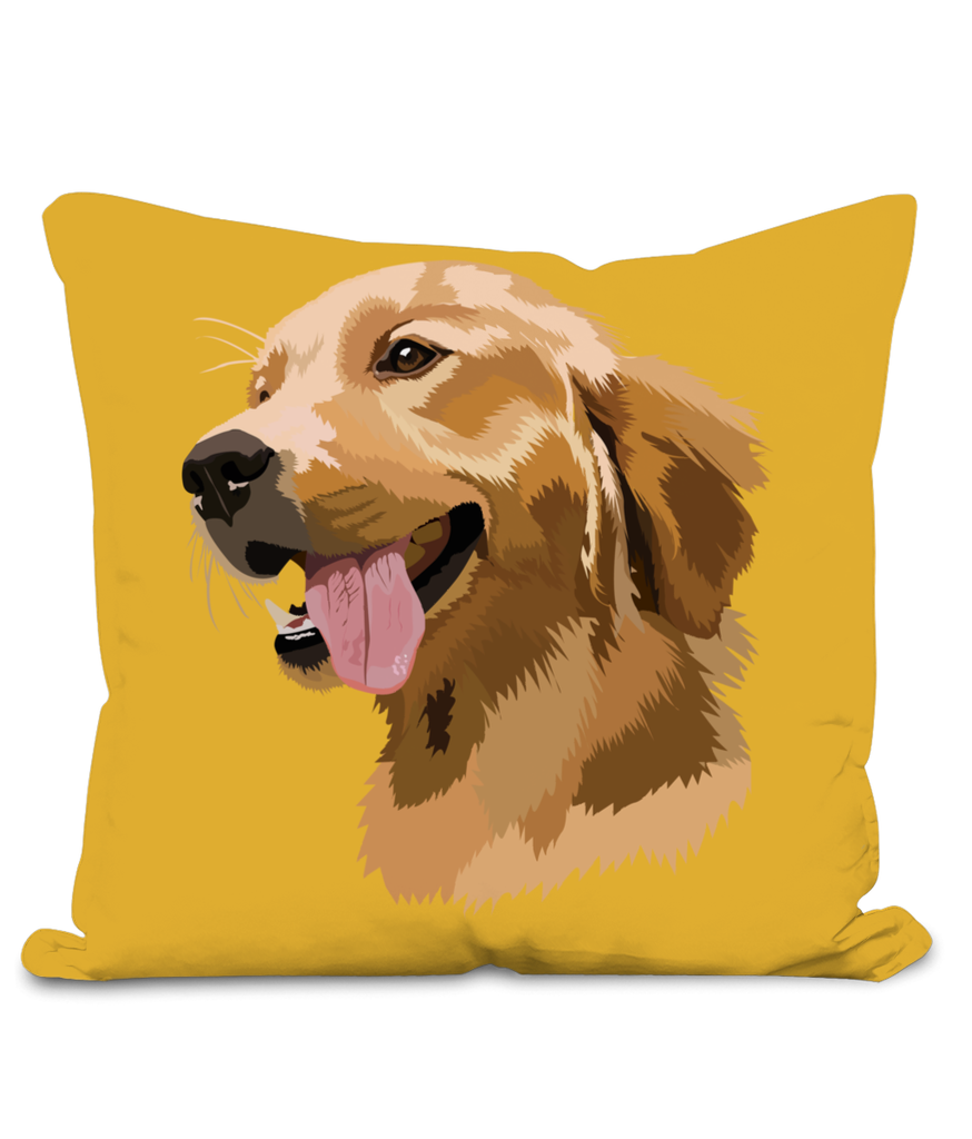 Golden Retriever Cushion with large image of head of a smiling Retriever.  Colour Mustard Size 40x40cm