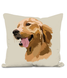 Golden Retriever Cushion with large image of head of a smiling Retriever.  Colour Naatural Size 40x40cm