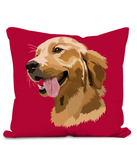 Golden Retriever Cushion with large image of head of a smiling Retriever.  Colour Magenta Size 40x40cm