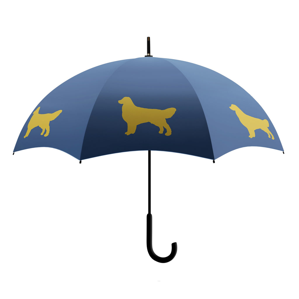 Golden Retriever Stick Umbrella  Navy and Gold