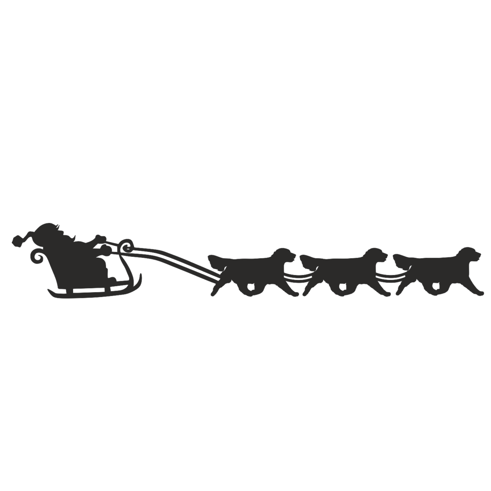 Three Golden Reetrievers pulling Santa on his Sleigh.  61cm long.   Black or Gold in powder coated mild steel. Wall decoration.