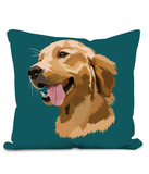 Golden Retriever Cushion with large image of head of a smiling Retriever.  Colour Teal Size 40x40cm