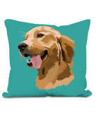 Golden Retriever Cushion with large image of head of a smiling Retriever.  Colour Turquoise Size 40x40cm