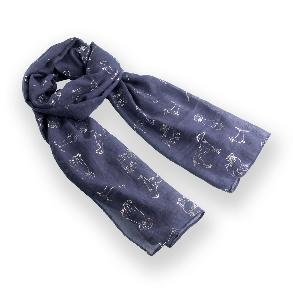Dog Print  Scarf  Navy Metallic