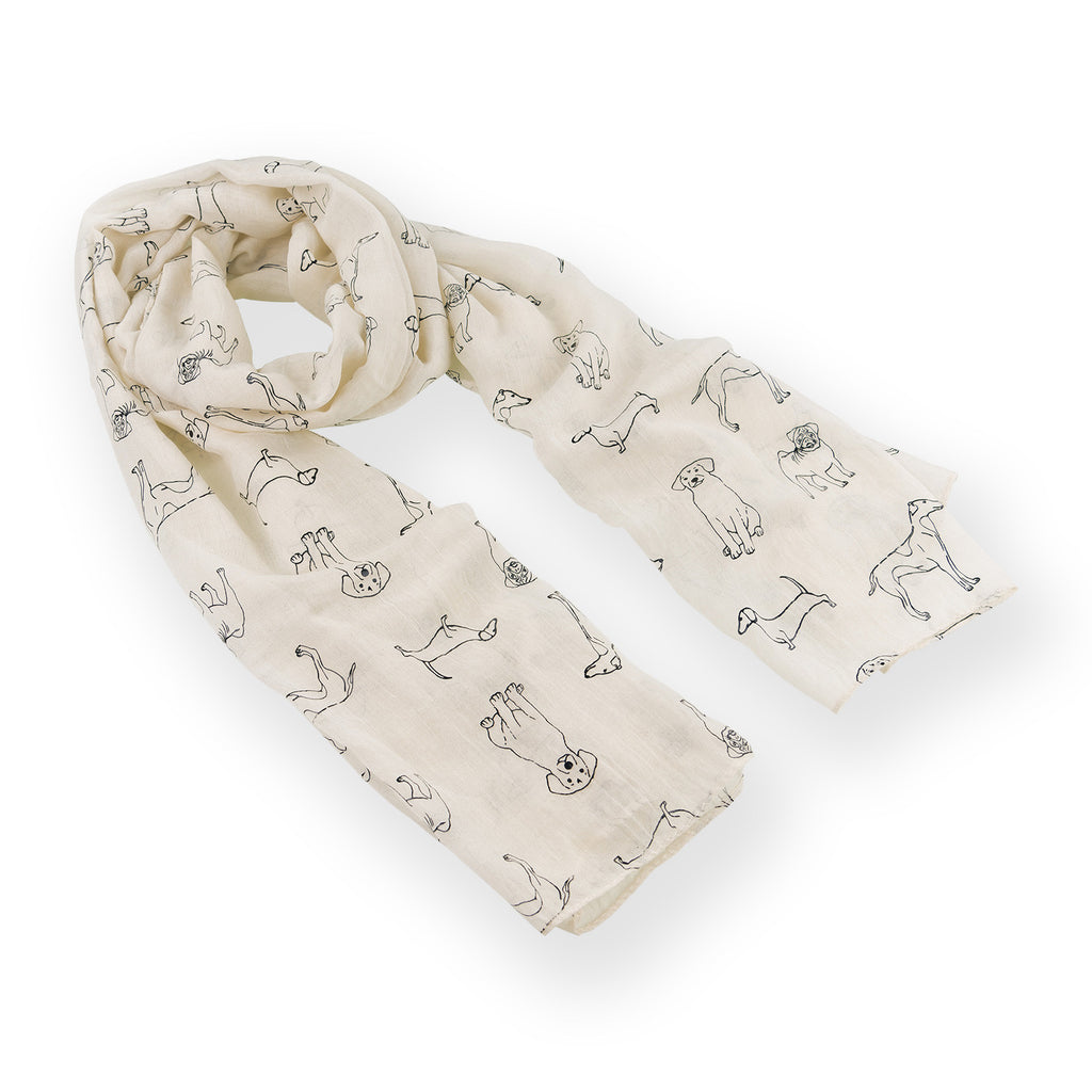 Dog Print  Scarf Cream Metallic