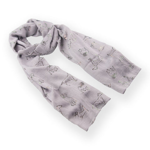 Dog Print  Scarf  Grey Metallic