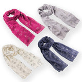 Dog Print Scarves Four Colours Metallic