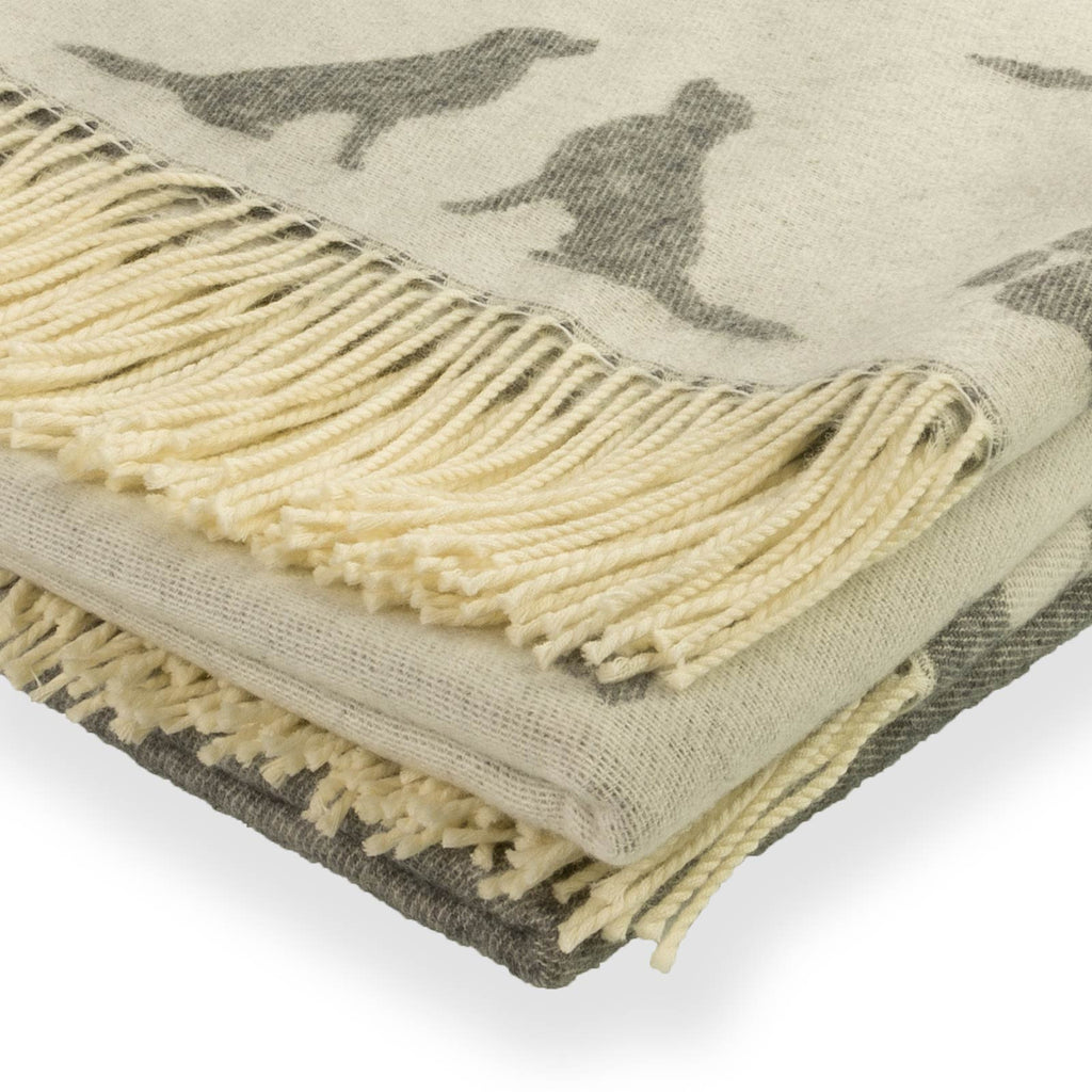 Grey Throw Golden Retriever Wool Cashmere