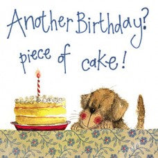 "Alex Clark Golden Retriever Birthday Card ""Piece of Cake"" Dog with Birthday Cake"