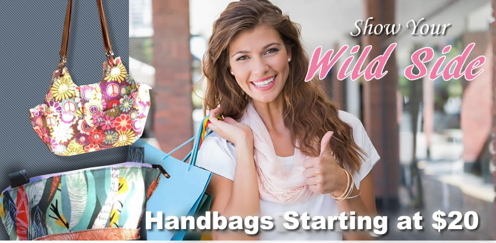female model promoting handbags starting at 20 dollars
