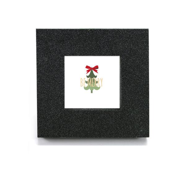 "Mini cubicle wall mirror with Christmas Tree & ""Be Merry"" message"