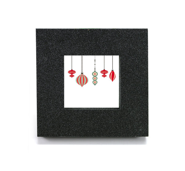Mini cubicle wall mirror with Christmas Ornaments