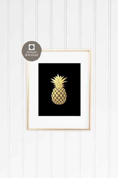 8x10 Gold Pineapple - Office Print, Digital Download