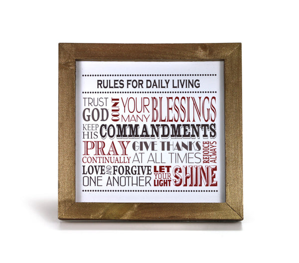 Rules for Daily Living in Red - Motivational Print - Office Print and Frame