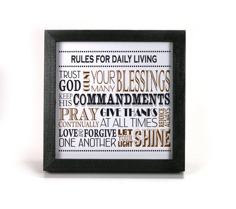 Rules for Daily Living in Gold - Motivational Print - Office Print and Frame