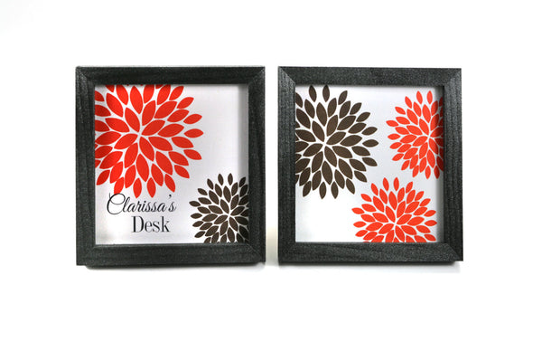 Personalized Dahlia Flower Name Plate - Office Print and Frame