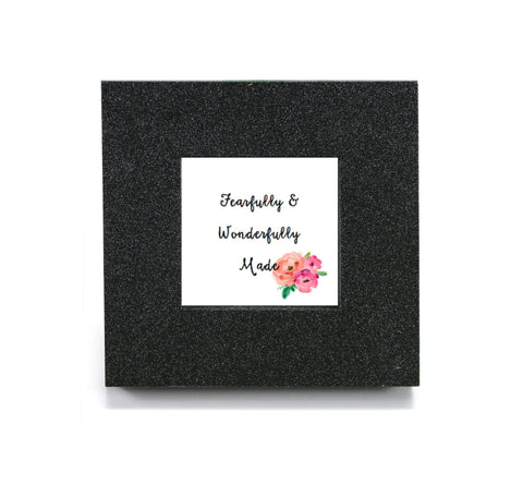 "Mini cubicle wall mirror with ""Fearfully and Wonderfully Made"" message"