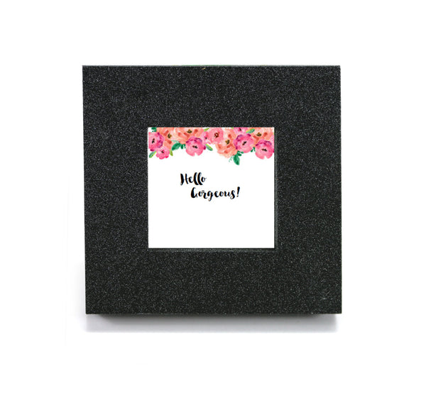 "Mini cubicle wall mirror with ""Hello Gorgeous!"" message"