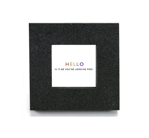 "Mini cubicle wall mirror with ""Hello, is it me you're looking for?"" message"