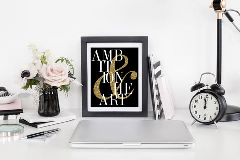 Ambition & Heart - Office Print and Frame