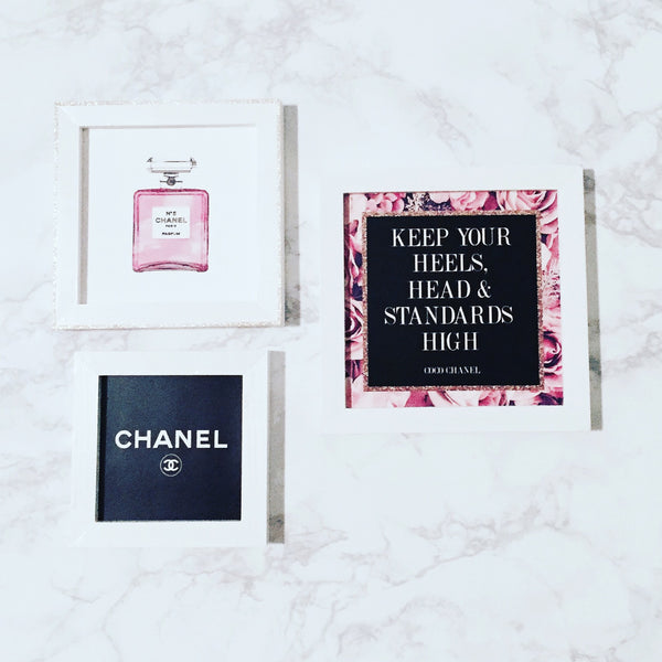 Coco Chanel - 3-Piece Office Print and Frame Set