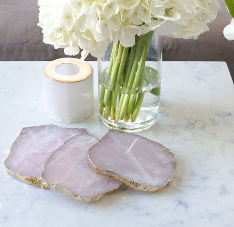 Gold Rimmed Agate Coasters