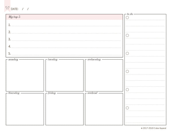 Weekly Planning Page (Landscape) - Free Digital Download