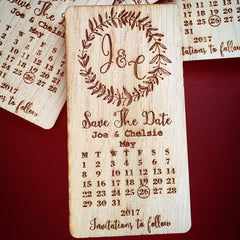 Wooden Save the Date Magnet with Initials Motif and Calendar