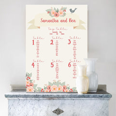 Blush and Aqua Florals Wedding Table Plan - Table Plan - Claryce Design - About to be Hitched
